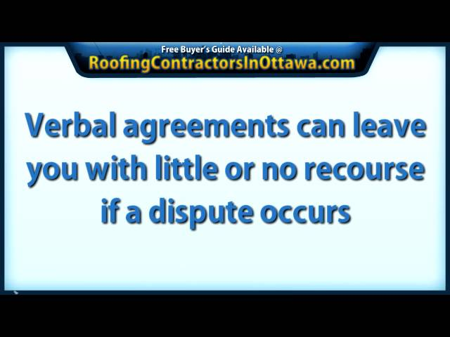 Ottawa Roofing Contractors – Don't Hire An Ottawa Roofer Without A Contract